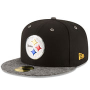 Pittsburgh Steelers New Era Youth Shadow Tech 59FIFTY Fitted Hat - Black/Heather Gray