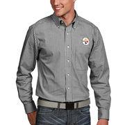 Pittsburgh Steelers Antigua Associate Woven Long Sleeve Button-Down Shirt - Black