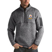 Pittsburgh Steelers Antigua Fortune Sweater Knit Microfleece Quarter-Zip Pullover Jacket - Charcoal