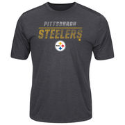 Pittsburgh Steelers Majestic All The Way Heathered T-Shirt - Charcoal