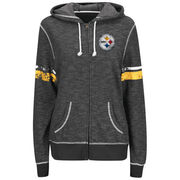 Pittsburgh Steelers Majestic Women's Athletic Tradition Full-Zip Hoodie - Black