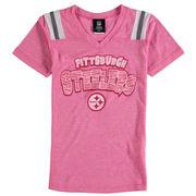 Pittsburgh Steelers 5th & Ocean by New Era Girls Youth Zebra Tri-Blend V-Neck T-Shirt - Pink
