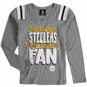 Pittsburgh Steelers 5th & Ocean by New Era Girls Youth Cutest Fan Tri-Blend V-Neck Long Sleeve T-Shirt - Heathered Gray