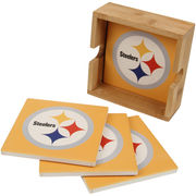 Pittsburgh Steelers 4-Pack Square Coaster Set with Caddy