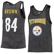 Antonio Brown Pittsburgh Steelers Majestic Tri-Blend Wordmark Name & Number Tank Top - Black