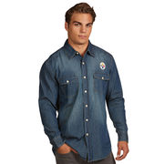 Pittsburgh Steelers Antigua Chambray Woven Long Sleeve Button-Up Shirt - Navy