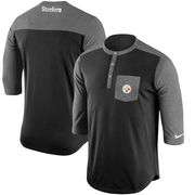 Pittsburgh Steelers Nike Touch Henley Three-Quarter Sleeve Performance T-Shirt - Black