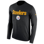 Pittsburgh Steelers Nike Legend Essential Lock Up Long Sleeve Performance T-Shirt - Black