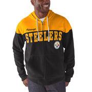 Pittsburgh Steelers G-III Sports by Carl Banks First Down Polar Fleece Full-Zip Hoodie - Black