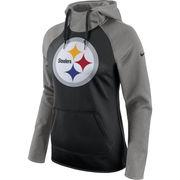 Pittsburgh Steelers Nike Women's All Time Raglan Pullover Performance Hoodie - Black/Heathered Gray
