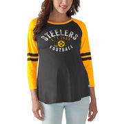 Pittsburgh Steelers Touch by Alyssa Milano Women's Maternity Huddle 3/4-Sleeve T-Shirt - Black