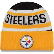 Pittsburgh Steelers New Era Youth Biggest Fan 2.0 Cuffed Knit Hat - Black/Gold