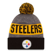 Pittsburgh Steelers New Era Youth 2016 Sideline Official Sport Knit Hat - Heather Gray