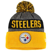 Pittsburgh Steelers New Era Sideline Official Classic Pom Knit Hat - Heather Gray