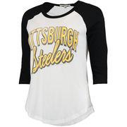 Pittsburgh Steelers Women's Play Action Vintage 3/4-Sleeve Raglan T-Shirt - White/Black
