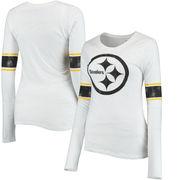 Pittsburgh Steelers Juniors Team Leader V-Neck Long Sleeve T-Shirt - White