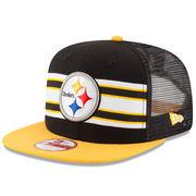 Pittsburgh Steelers New Era Throwback Stripe Original Fit 9FIFTY Snapback Adjustable Hat - Black/Gold