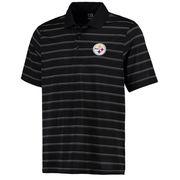 Pittsburgh Steelers Cutter & Buck DryTec Venture Stripe Polo - Black/Gray