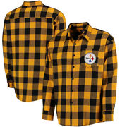 Pittsburgh Steelers Klew Large Check Flannel Button-Up Shirt - Black