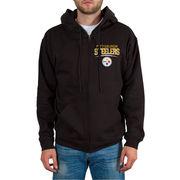 Pittsburgh Steelers Junk Food Comeback Route 2-Hit Full Zip Hoodie - Black