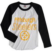 Pittsburgh Steelers Junk Food Youth All American Long Sleeve Raglan T-Shirt - White/Black