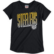 Pittsburgh Steelers Junk Food Girls Youth Game Time T-Shirt - Black