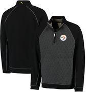 Pittsburgh Steelers Tommy Bahama Gridiron Half-Zip Sweater - Black