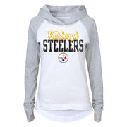 Pittsburgh Steelers Juniors Old School Long Sleeve Hooded T-Shirt - White/Gray