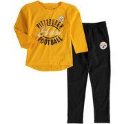 Pittsburgh Steelers Girl's Preschool Fan Gear Fan Gear Football Sweetheart Long Sleeve T-Shirt and Pant Set - Gold