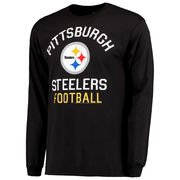 Pittsburgh Steelers Junk Food End Zone Long Sleeve 2 Hit Front and Back T-Shirt - Black