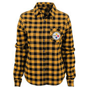 Pittsburgh Steelers Juniors Buffalo Plaid Flannel Button-Up Long Sleeve Shirt - Yellow/Black