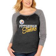 Pittsburgh Steelers Soft as a Grape Women's Plus Size Color Block Long Sleeve Raglan Tri-Blend T-Shirt - Black/Heathered Gray