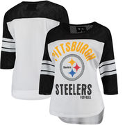 Pittsburgh Steelers G-III 4Her by Carl Banks Women's First Team Three-Quarter Sleeve Mesh T-Shirt - White/Black