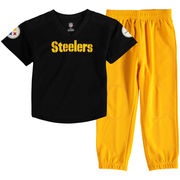Pittsburgh Steelers Toddler Fan Gear Lil' Field Pant Set - Black/Gold