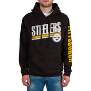Pittsburgh Steelers Sidestripe 2-Hit Pullover Hoodie - Black