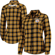 Pittsburgh Steelers Klew Women's Wordmark Flannel Button-Up Long Sleeve Shirt - Black