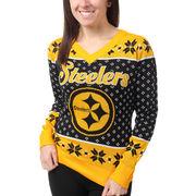 Pittsburgh Steelers Klew Women's Big Logo V-Neck Sweater - Black