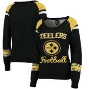 Pittsburgh Steelers Klew Women's Glitter Scoop Neck Sweater - Black