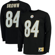 Antonio Brown Pittsburgh Steelers Majestic Big & Tall Eligible Receiver Name & Number Long Sleeve T-Shirt - Black