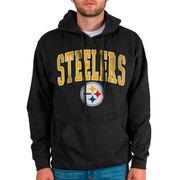 Pittsburgh Steelers Junk Food Classic Wordmark Logo Pullover Hoodie - Charcoal