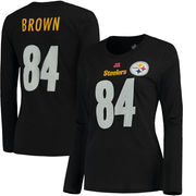 Antonio Brown Pittsburgh Steelers Majestic Women's Plus Size Her Catch Player Name & Number Long Sleeve T-Shirt - Black