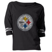 Pittsburgh Steelers New Era Women's Hard Count 3/4-Sleeve Scoop Neck T-Shirt - Black