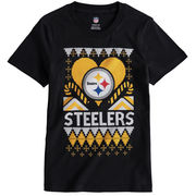 Pittsburgh Steelers Girl's Youth Candy Cane Love T-Shirt - Black