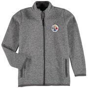 Pittsburgh Steelers Youth Sweater Knit Full-Zip Jacket - Heathered Gray