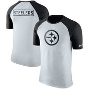 Pittsburgh Steelers Nike Gridiron Gray Raglan Tri-Blend T-Shirt - Ash