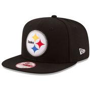 Pittsburgh Steelers New Era Retro Logo Original Fit 9FIFTY Snapback Adjustable Hat - Black