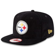 Pittsburgh Steelers New Era Vintage Corduroy Original Fit 9FIFTY Snapback Adjustable Hat - Black
