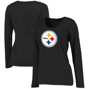 Pittsburgh Steelers NFL Pro Line Women's Plus Size Primary Logo Long Sleeve T-Shirt - Black