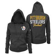 Pittsburgh Steelers 5th & Ocean by New Era Women's Halfback Full-Zip Hoodie - Black