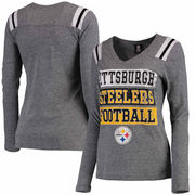 Pittsburgh Steelers 5th & Ocean by New Era Women's Block Letter Tri-Blend Long Sleeve V-Neck T-Shirt - Heathered Gray